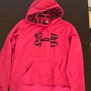 Pink Zebra Stripe Under Armour Hoodie